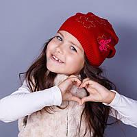 Модная вязанная шапка для девочек в розницу - Butterfly - осень  - Артикул 1763