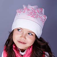 Нарядная вязанная шапка с подгибом для девочек в розницу - осень  - Артикул 1511