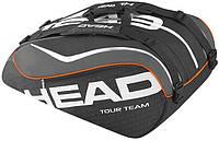Качественная мужская сумка-чехол  на  12 ракеток 283205 Tour Team 12R Monstercombi  BKBK HEAD