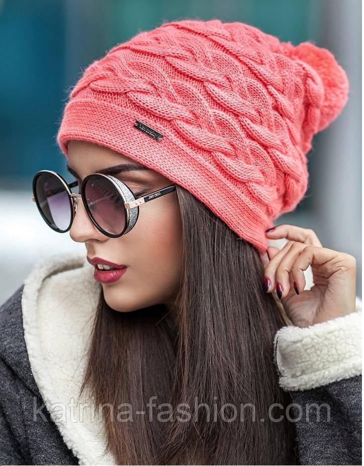 """Женская стильная вязанная шапка """"Горизонтальная коса"""" (9 цветов)"""