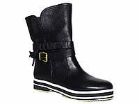 Зимние женские кожаные ботинки с опоясывающим ремешком