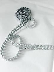 Лента со стразами (бриллиантовая), 1,5 метра серебро