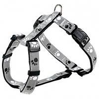 Trixie  TX-12231 шлея для собак Silver Reflect H-Harness  30-40 cm/15 mm