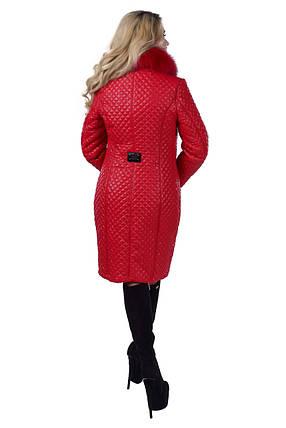 Женское стеганое красное зимнее пальто арт. Андрия стеганое песец зима 6648, фото 2