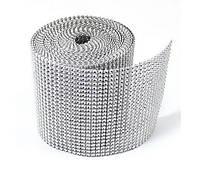 Лента со стразами (бриллиантовая), 0,5 метра, серебро