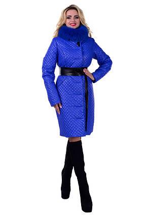 Женское красивое стеганое зимнее пальто арт. Андрия стеганое песец зима 6653, фото 2