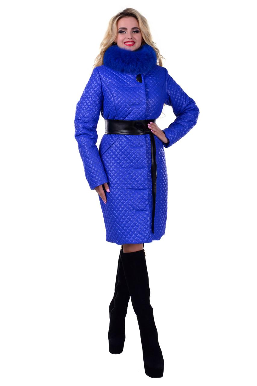 Женское красивое стеганое зимнее пальто арт. Андрия стеганое песец зима 6653