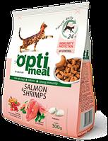Optimeal (Оптимил) сухой корм для взрослых кошек С лососем и креветками 11 кг