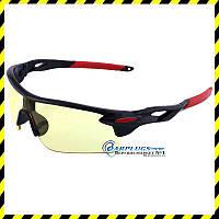 Очки стрелковые с жёлтыми  линзами (красные вставки), UV400 защита.