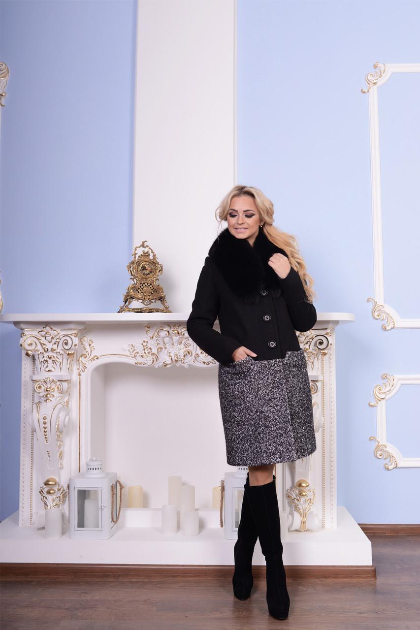 Женское двухцветное зимнее пальто арт. Стенли зима 7345