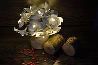 Гирлянда на батарейках из 20 пушистых орхидей - теплое свечение
