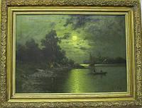 """Картина """"Вечерняя рыбалка"""" A. Engerl 19 век"""