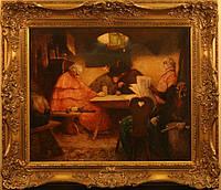 "Картина ""В таверне"" Herman Arnold 19 век"