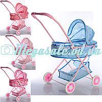"""Детская коляска для кукол классика """"Нежность"""": 4 цвета, металл, корзина для игрушек"""
