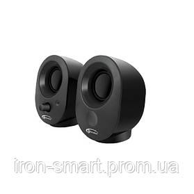 Колонки 2.0 Gemix TF-1 Black, 2 x 2 Вт, пластиковый корпус, питание от USB/сеть 220V, управление спереди