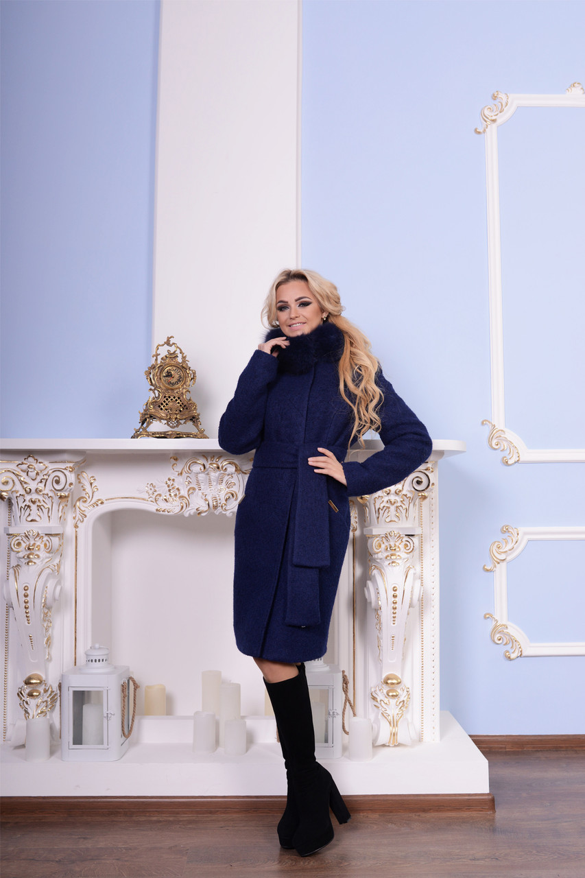 Женское зимнее пальто букле арт. Луара лайт букле песец зима 7216