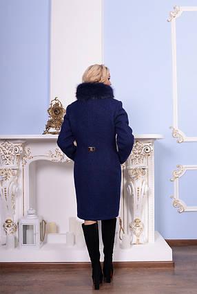 Женское зимнее пальто букле арт. Луара лайт букле песец зима 7216, фото 2