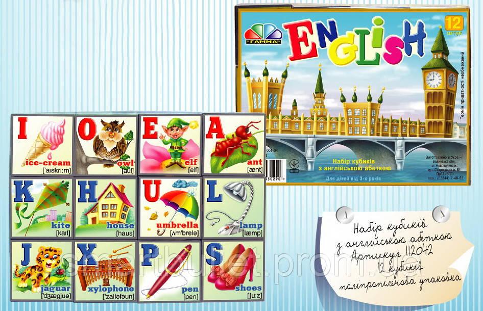 """Кубики """"Английский алфавит"""" 12 кубиков 112042"""