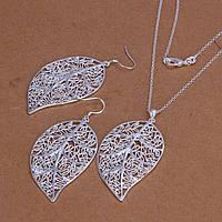 Ювелирный комплект Листья серебро 925