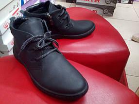 Подростковые демисезонные ботинки  МИДА 32002-3 черные из натуральной матовой кожи, фото 2