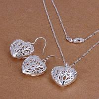 Ювелирный комплект Сердце серебро 925