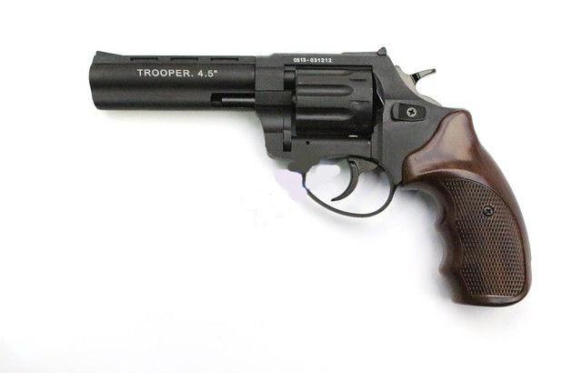 """Револьвер Trooper 4.5"""", под патрон Флобера, сталь мат/чёрн пласт/под дерево, револьверы, пневматика"""