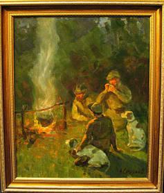 Картина После охоты Смирнов В.С. 1980-е годы