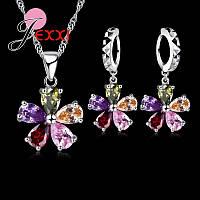 Ювелирный комплект Цветок разноцветный серебро 925