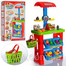 Супермаркет 661-79 с кассовым аппаратом и продуктами, корзина, весы, игровой набор детский