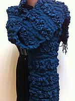 Стильный  жатый шарф цвет бирюза