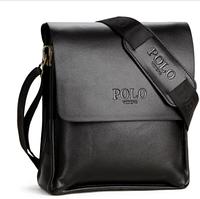 Черная удобная мужская кожаная сумка планшет Polo Videng
