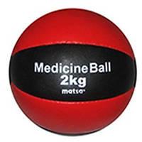 Мяч медицинский (медбол) MATSA  2кг (верх-кожа, наполнитель-песок, d-16см, красно-черный)
