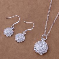 Ювелирный комплект Роза серебро 925
