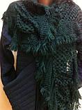Стильний ажурний шарф мереживний в'язки колір зелений, фото 2