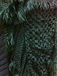 Стильний ажурний шарф мереживний в'язки колір зелений, фото 3