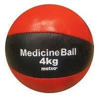 Мяч медицинский (медбол) MATSA 4кг (верх-кожа, наполнитель-песок, d-20см, красно-черный)