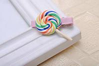 Детская заколка для волос конфета,конфетка разноцветная 1 шт