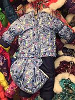 Детский зимний комбинезон Тройка-конверт 3 в 1 Голубой снеговик