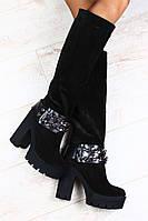 Сапоги Giuseppe Zanotti черные замшевые демисезонные на толстом устойчивом каблуке