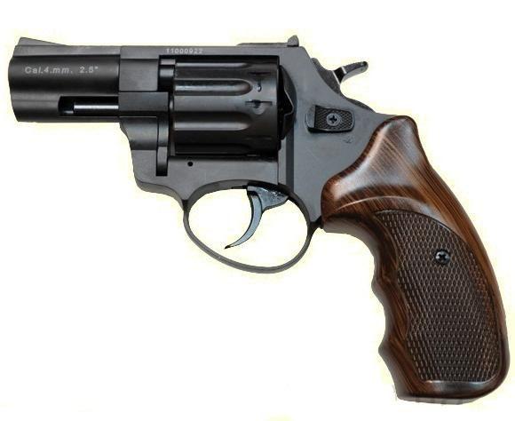 """Револьвер Trooper 2.5"""" под патрон Флобера. Револьвер Trooper 2.5"""" пластик под дерево, сталь мат/чёрн"""