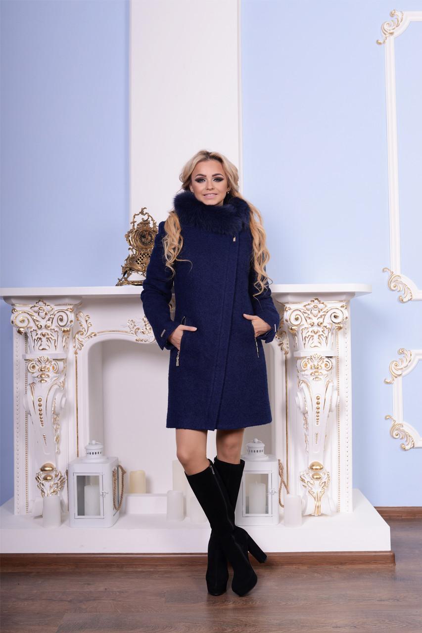Темно-синее женское зимнее пальто р. S-XXL арт. Эльпассо букле песец зима 7513