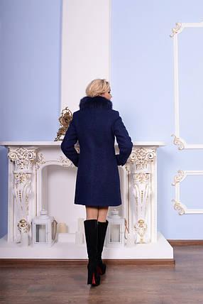 Темно-синее женское зимнее пальто р. S-XXL арт. Эльпассо букле песец зима 7513, фото 2