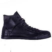 Кеды черные кожаные высокие на липучке Converse All Star, фото 2