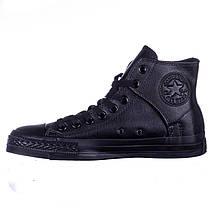 Кеды черные кожаные высокие на липучке Converse All Star, фото 3
