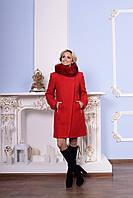 Красное женское зимнее пальто р. S, M, L арт. Эльпассо букле песец зима 7512