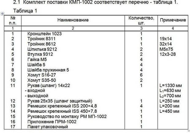 Монтажный комплект Северс М, № 1002 KIA Spectra 2008 г.в., дв. S6D (1,6 л.)