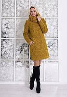 Теплое женское зимнее пальто с хомутом р. S, M, L арт. Фортуна лайт букле хомут зима 7220
