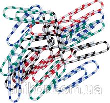 """Скрепки 28 мм., цветные, """"зебра"""", круглые, 100 шт., пластиковый бокс. BuroMax"""