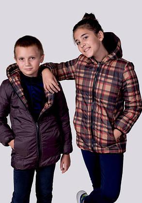 Е2218 Куртка  на синтепоне Клетка, фото 2