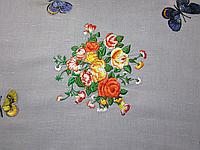 Наволочка/Подушка декоративная «Букет с бабочками» лен 100%